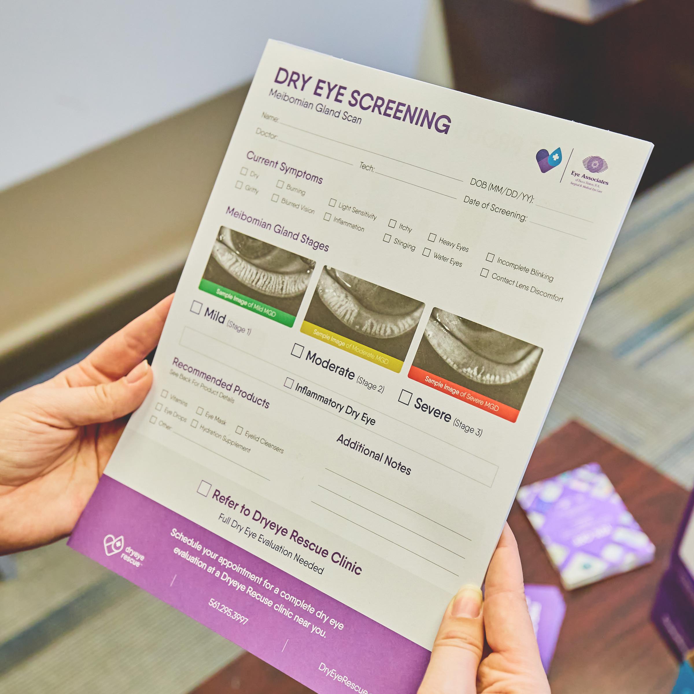 dry eye screening pad
